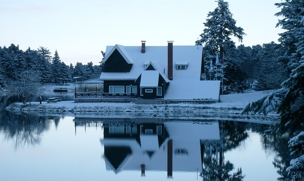 Cold house with snow