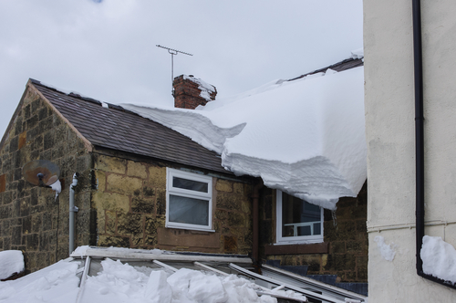 Roof with snow and conservatory