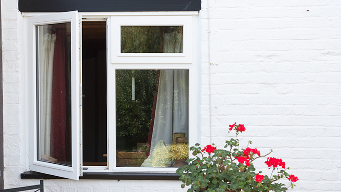 Stormproof casement window in white