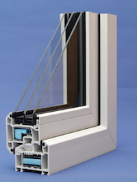 Triple glazed window cross section