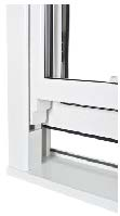 Vertical sliding sash with run-through horn