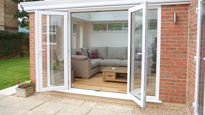 White French doors in a conservatory