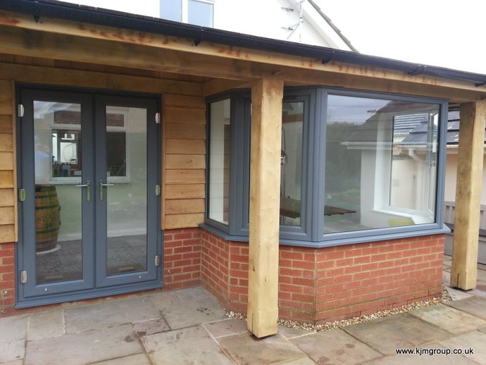 Veka French doors in Grey Ral 7016