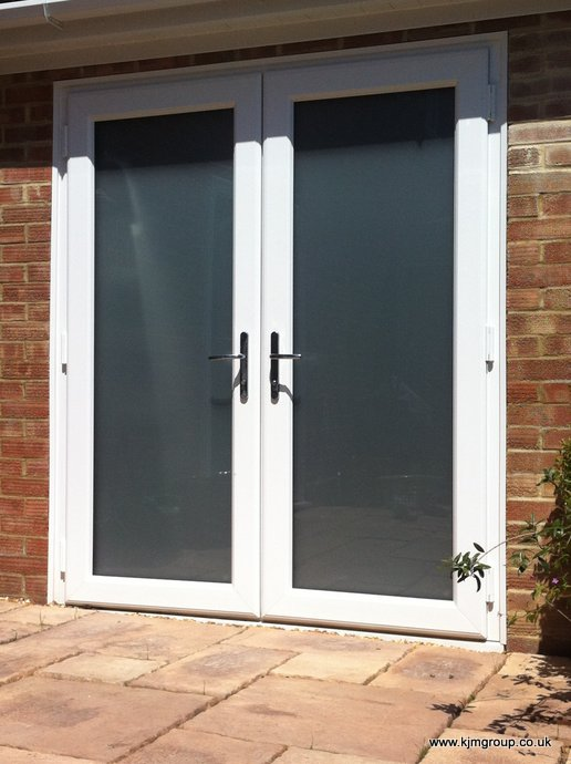 uPVC French doors with satin obscure glass