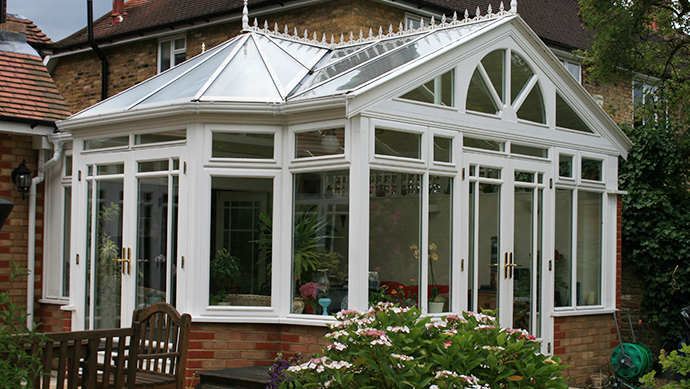 Fully bespoke conservatory in white painted hardwood