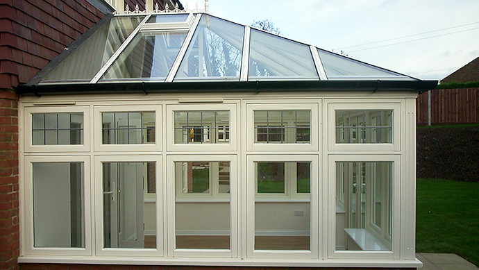 Wood conservatory conservatory in cream external view
