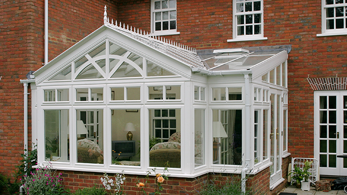 Hardwood gable front conservatory external view