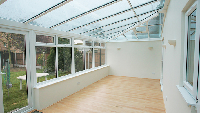 Hipped lean-to conservatory in white Internal View